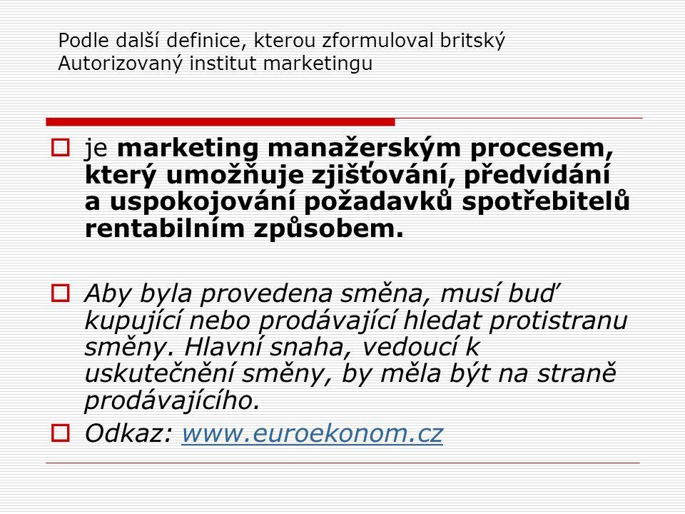 Podle další definice, kterou zformuloval britský Autorizovaný institut marketingu  je marketing manažerským procesem, který umožňuje zjišťování, předvídání a uspokojování požadavků spotřebitelů rentabilním způsobem.