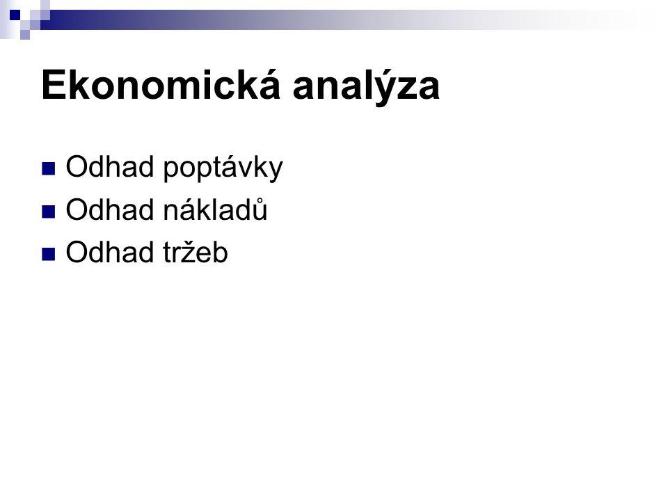 Ekonomická analýza Odhad poptávky Odhad nákladů Odhad tržeb