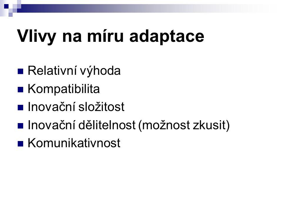 Vlivy na míru adaptace Relativní výhoda Kompatibilita Inovační složitost Inovační dělitelnost (možnost zkusit) Komunikativnost