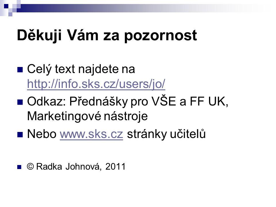 Děkuji Vám za pozornost Celý text najdete na http://info.sks.cz/users/jo/ http://info.sks.cz/users/jo/ Odkaz: Přednášky pro VŠE a FF UK, Marketingové nástroje Nebo www.sks.cz stránky učitelůwww.sks.cz © Radka Johnová, 2011