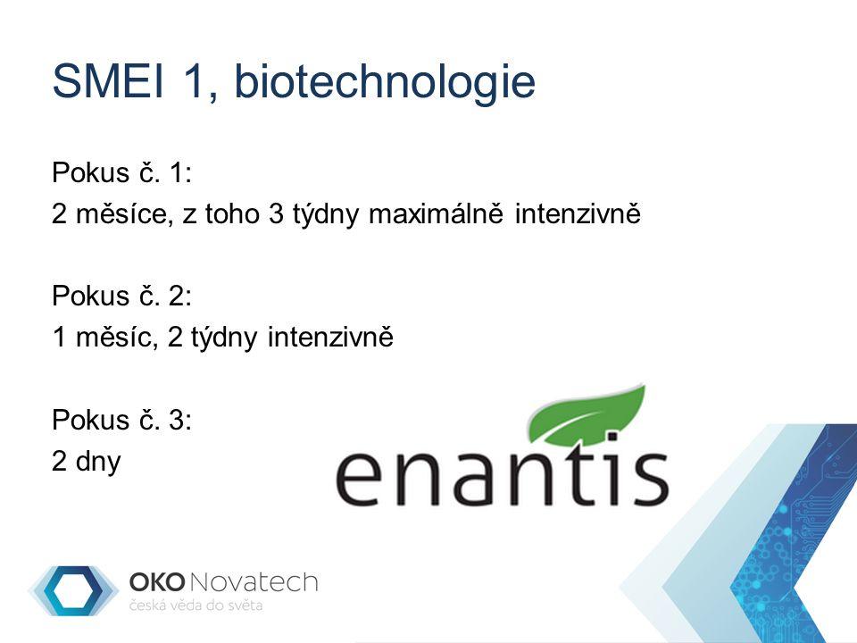 SMEI 1, biotechnologie Pokus č. 1: 2 měsíce, z toho 3 týdny maximálně intenzivně Pokus č.