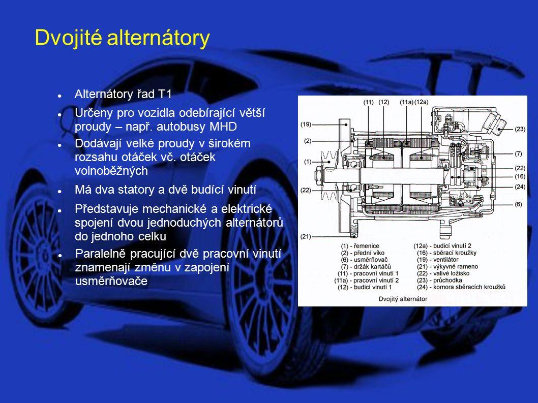Alternátory s rotorem se samostatnými póly Alternátory řad U2 Používají se pro vozidla vysokými nároky na odběr proudu až 100 A a jmenovitým napětím 24 V Vyskytují se u kolejových vozidel, lodí, velkých speciálních vozidel a autobusů Označují se jako - Standard Každý pól má samostatné budící vinutí a je tedy samostaně buzen Konstrukčně jsou delší, ale mají menší průměr Regulátor je od alternátoru oddělen a umístěn mimo dosah tepla od motoru, chráněn před vlhkosí a nečistotami U speciálních vozidel může být mimo alternátor umístěn i usměrňovač (např.