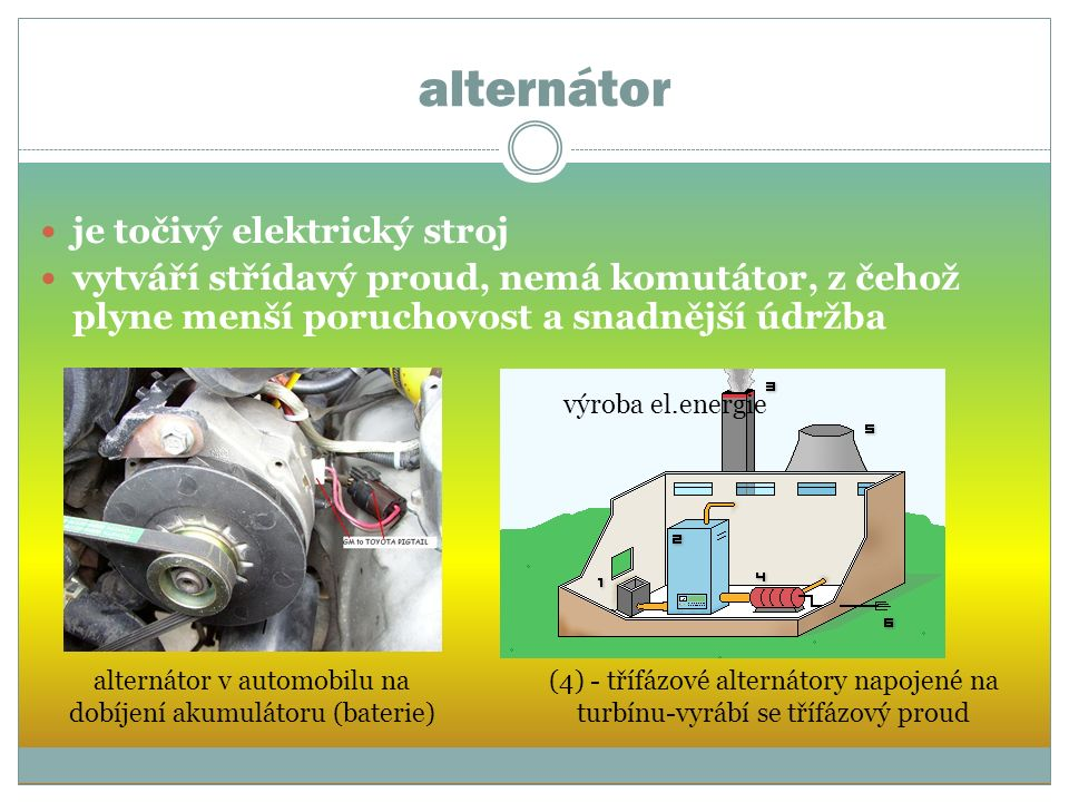alternátor je točivý elektrický stroj vytváří střídavý proud, nemá komutátor, z čehož plyne menší poruchovost a snadnější údržba výroba el.energie (4) - třífázové alternátory napojené na turbínu-vyrábí se třífázový proud alternátor v automobilu na dobíjení akumulátoru (baterie)