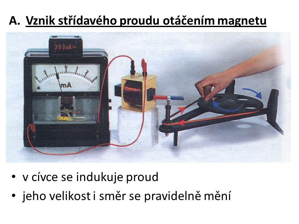A.Vznik střídavého proudu otáčením magnetu v cívce se indukuje proud jeho velikost i směr se pravidelně mění
