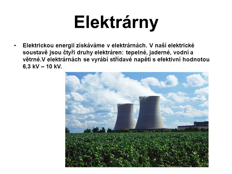 Elektrárny Elektrickou energii získáváme v elektrárnách. V naší elektrické soustavě jsou čtyři druhy elektráren: tepelné, jaderné, vodní a větrné.V el