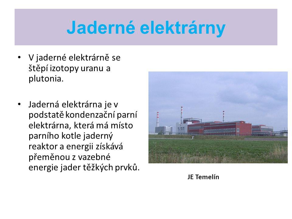 Jaderné elektrárny V jaderné elektrárně se štěpí izotopy uranu a plutonia. Jaderná elektrárna je v podstatě kondenzační parní elektrárna, která má mís