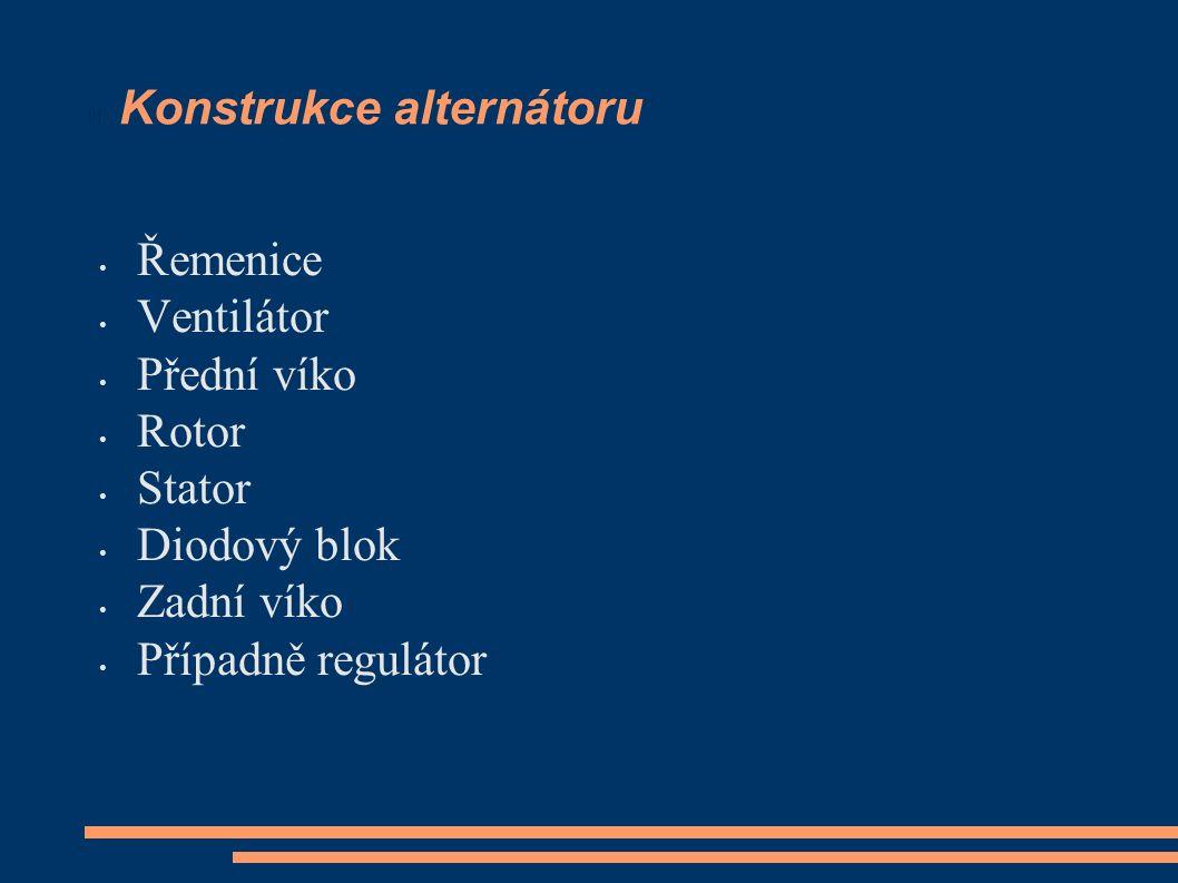 Konstrukce alternátoru Řemenice Ventilátor Přední víko Rotor Stator Diodový blok Zadní víko Případně regulátor
