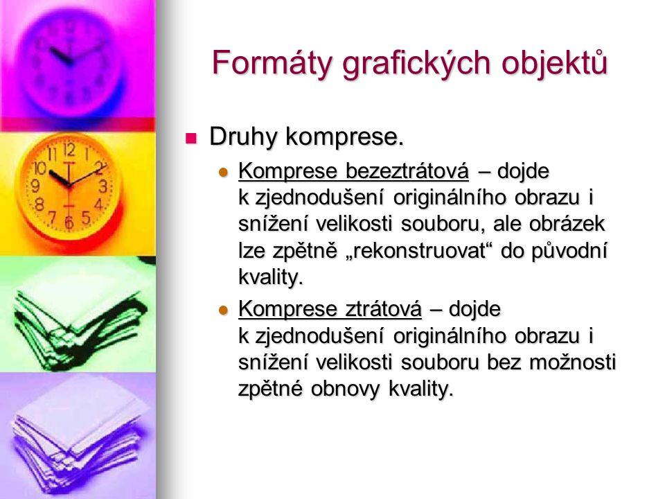 Formáty grafických objektů Druhy komprese. Druhy komprese.