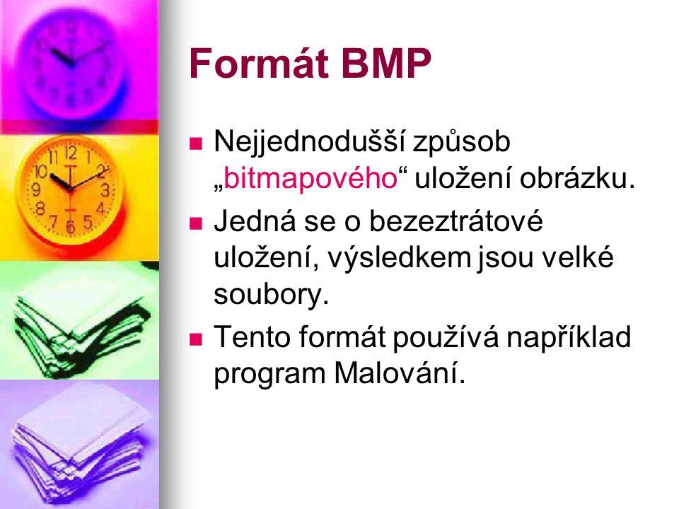 """Formát BMP Nejjednodušší způsob """"bitmapového uložení obrázku."""
