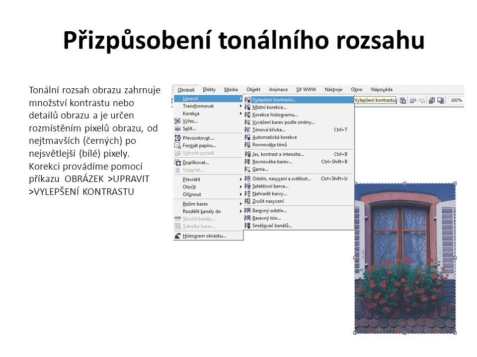 Přizpůsobení tonálního rozsahu Tonální rozsah obrazu zahrnuje množství kontrastu nebo detailů obrazu a je určen rozmístěním pixelů obrazu, od nejtmavších (černých) po nejsvětlejší (bílé) pixely.