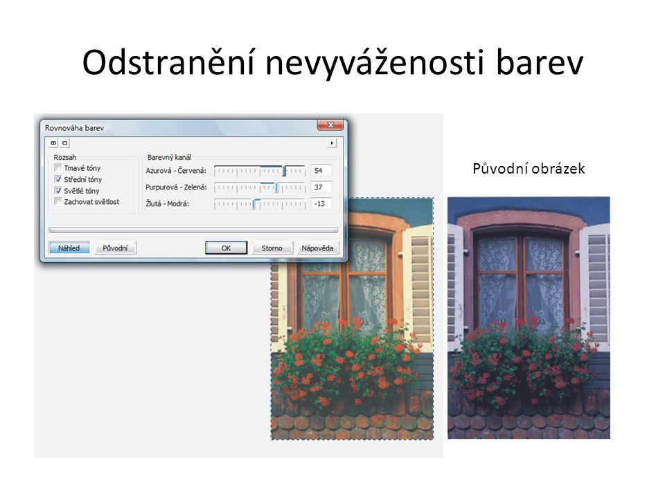 Odstranění nevyváženosti barev Původní obrázek