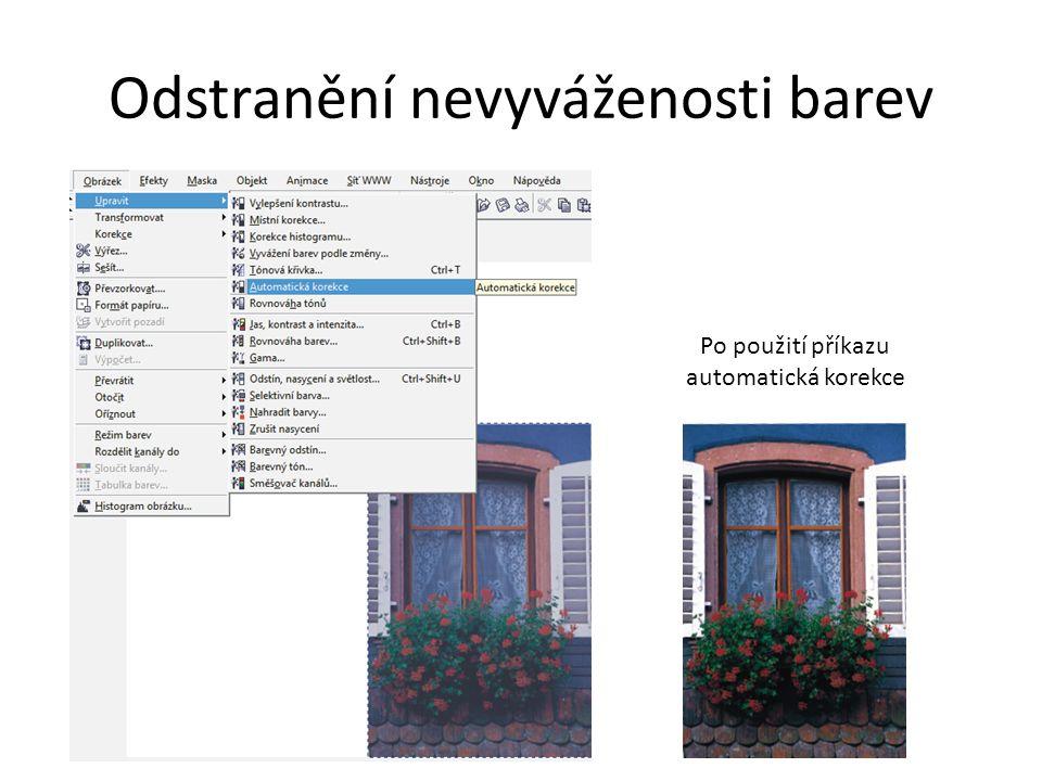 Odstranění nevyváženosti barev Po použití příkazu automatická korekce