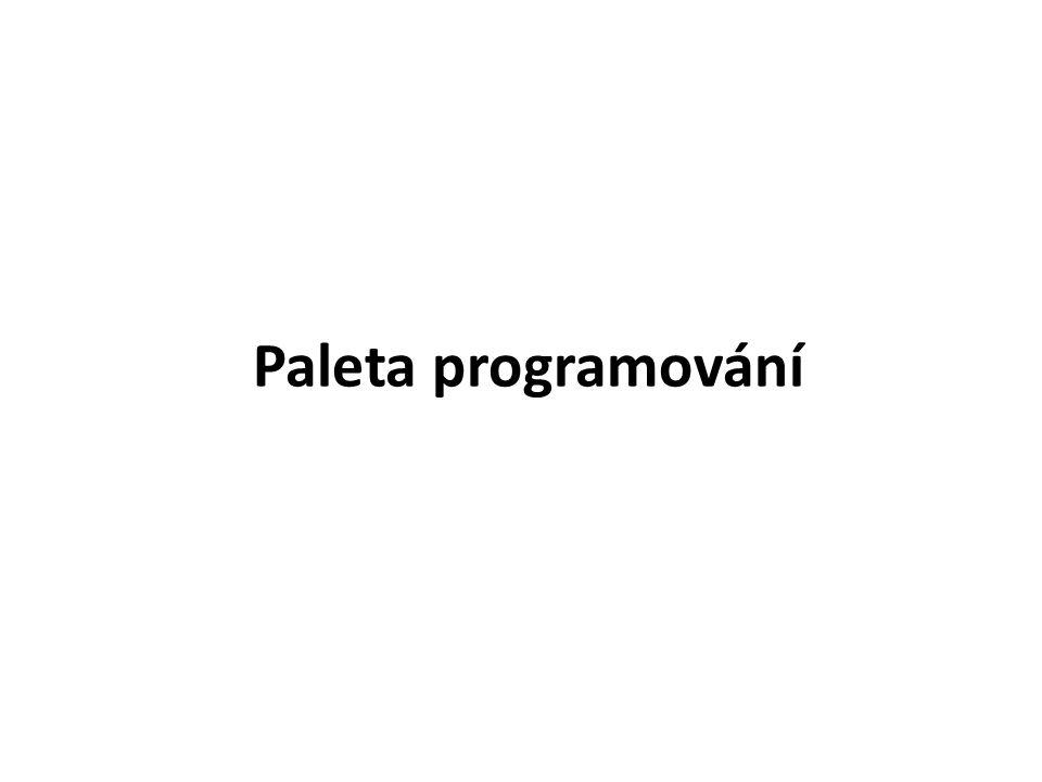 Paleta programování obsahuje všechny programovací příkazy.