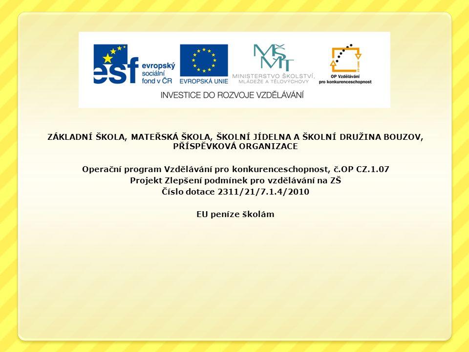 ZÁKLADNÍ ŠKOLA, MATEŘSKÁ ŠKOLA, ŠKOLNÍ JÍDELNA A ŠKOLNÍ DRUŽINA BOUZOV, PŘÍSPĚVKOVÁ ORGANIZACE Operační program Vzdělávání pro konkurenceschopnost, č.OP CZ.1.07 Projekt Zlepšení podmínek pro vzdělávání na ZŠ Číslo dotace 2311/21/7.1.4/2010 EU peníze školám