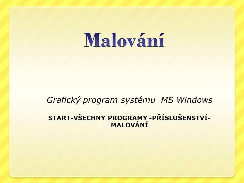 Grafický program systému MS Windows START-VŠECHNY PROGRAMY -PŘÍSLUŠENSTVÍ- MALOVÁNÍ