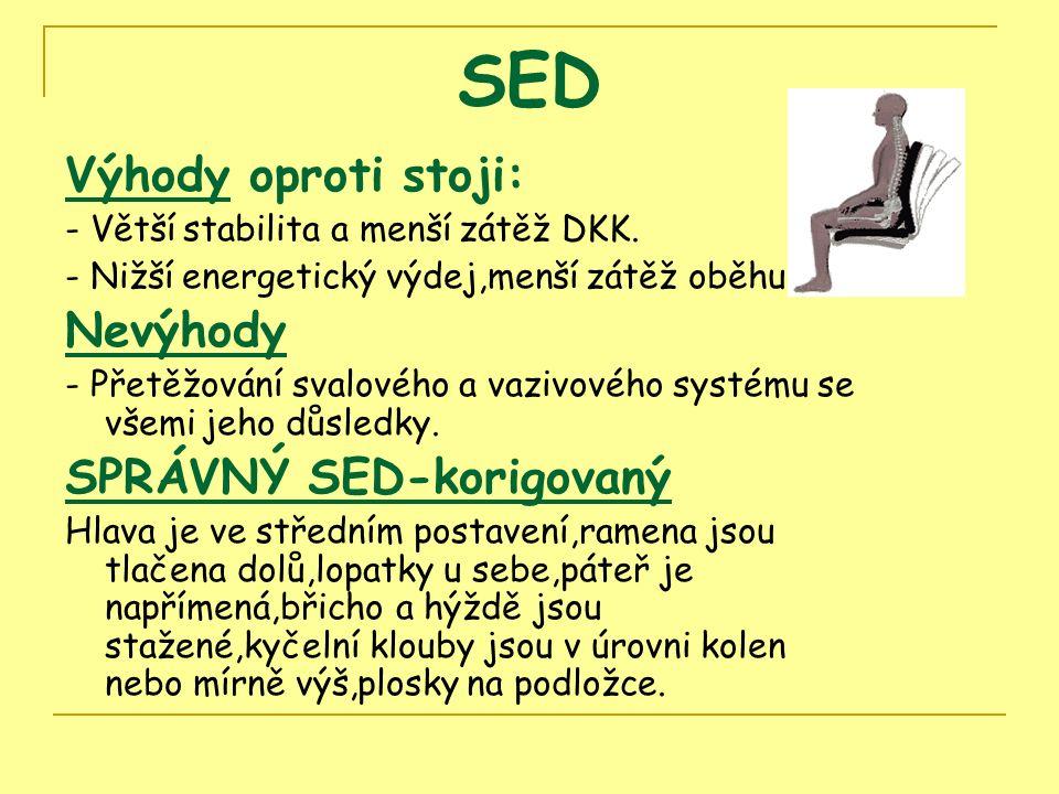 SED Výhody oproti stoji: - Větší stabilita a menší zátěž DKK.
