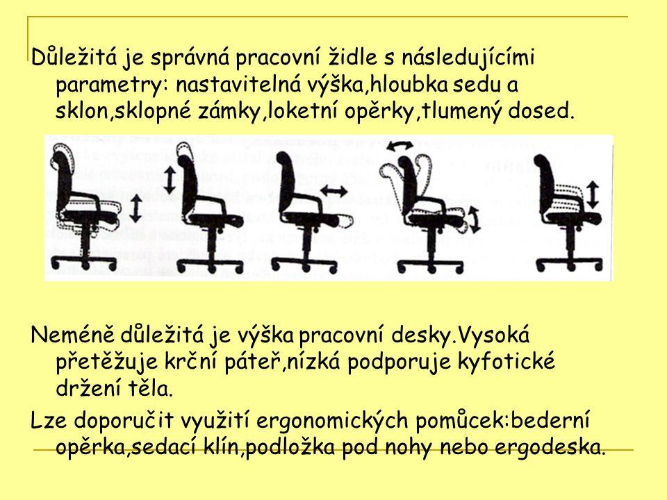 Důležitá je správná pracovní židle s následujícími parametry: nastavitelná výška,hloubka sedu a sklon,sklopné zámky,loketní opěrky,tlumený dosed.