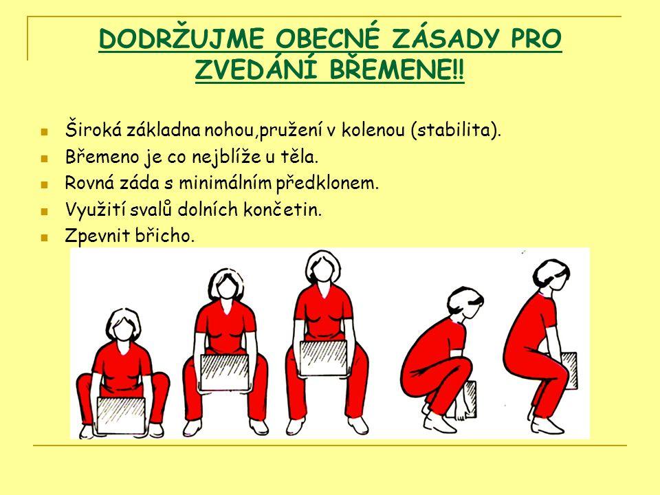 DODRŽUJME OBECNÉ ZÁSADY PRO ZVEDÁNÍ BŘEMENE!. Široká základna nohou,pružení v kolenou (stabilita).
