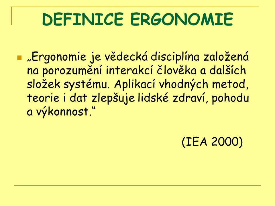 """DEFINICE ERGONOMIE """"Ergonomie je vědecká disciplína založená na porozumění interakcí člověka a dalších složek systému."""