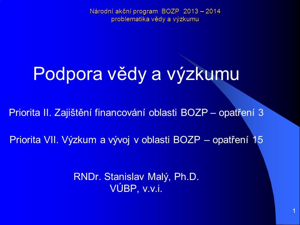 1 Národní akční program BOZP 2013 – 2014 problematika vědy a výzkumu Podpora vědy a výzkumu Priorita II.