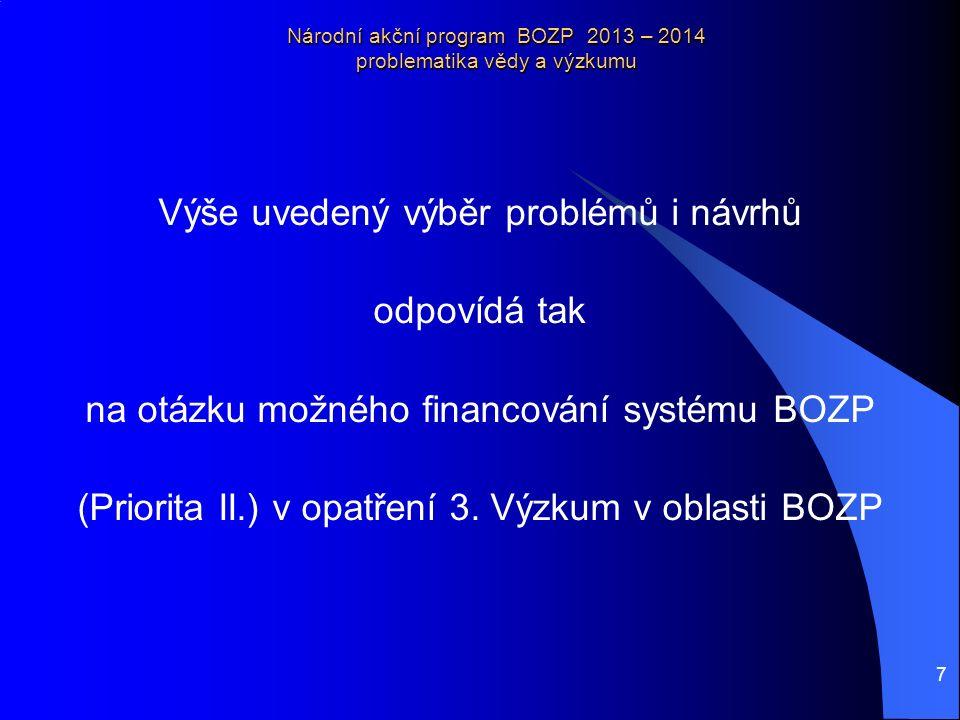 7 Národní akční program BOZP 2013 – 2014 problematika vědy a výzkumu Výše uvedený výběr problémů i návrhů odpovídá tak na otázku možného financování systému BOZP (Priorita II.) v opatření 3.