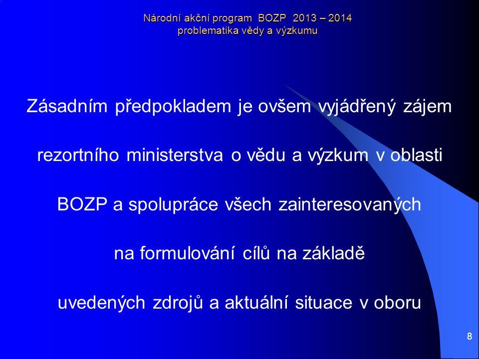 9 Národní akční program BOZP 2013 – 2014 problematika vědy a výzkumu Priority výzkumu a vývoje BOZP 2013 a dále (Priorita VII, Opatření 15).