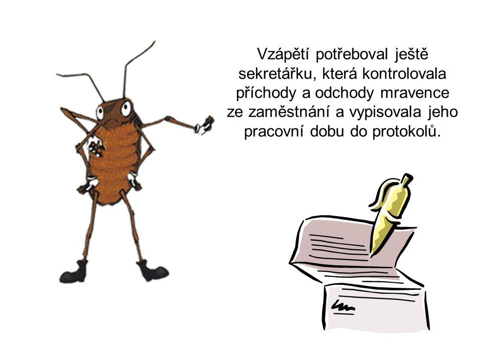 Vzápětí potřeboval ještě sekretářku, která kontrolovala příchody a odchody mravence ze zaměstnání a vypisovala jeho pracovní dobu do protokolů.