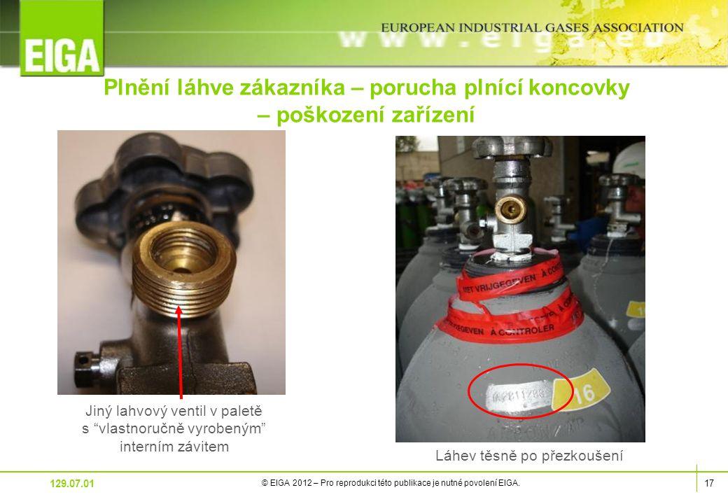 17 © EIGA 2012 – Pro reprodukci této publikace je nutné povolení EIGA.