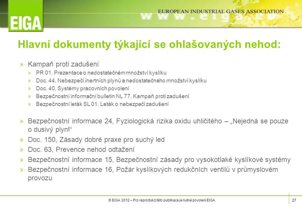 27 © EIGA 2012 – Pro reprodukci této publikace je nutné povolení EIGA.