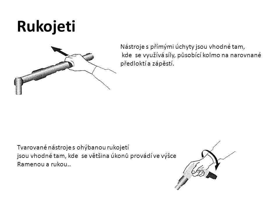 Rukojeti Nástroje s přímými úchyty jsou vhodné tam, kde se využívá síly, působící kolmo na narovnané předloktí a zápěstí.