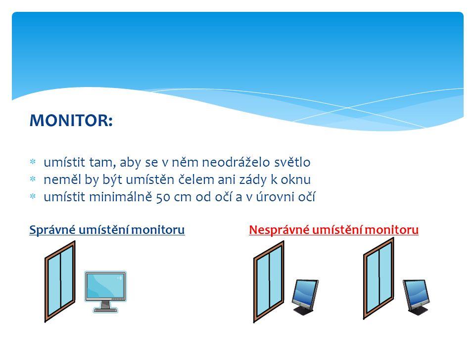 MONITOR:  umístit tam, aby se v něm neodráželo světlo  neměl by být umístěn čelem ani zády k oknu  umístit minimálně 50 cm od očí a v úrovni očí Správné umístění monitoruNesprávné umístění monitoru