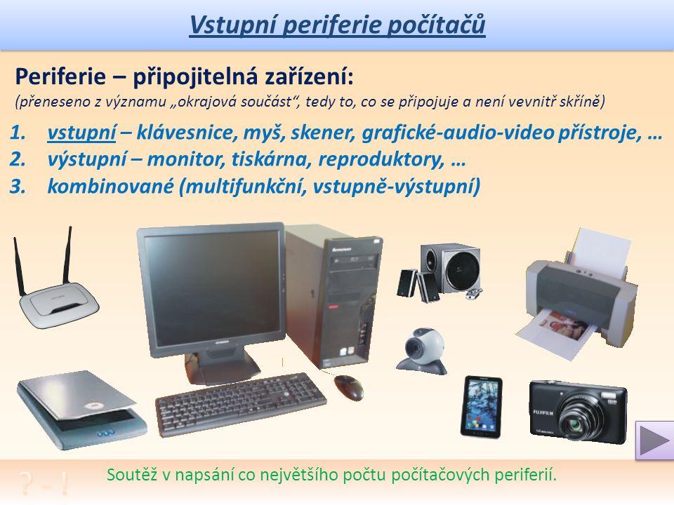 Vstupní periferie počítačů Soutěž v napsání co největšího počtu počítačových periferií.