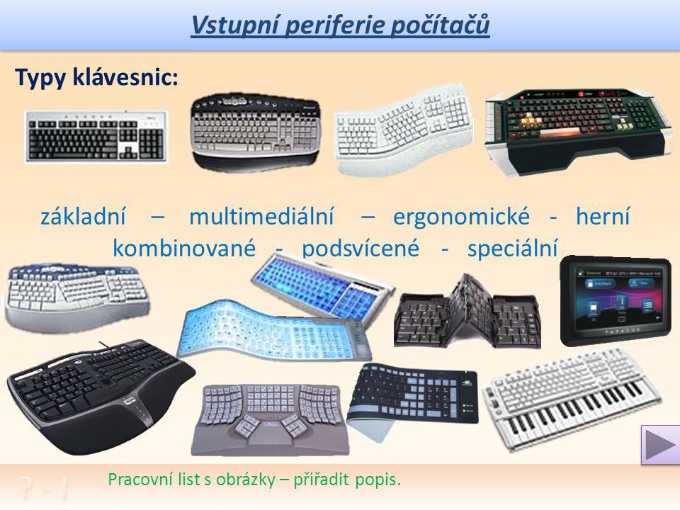 Vstupní periferie počítačů Pracovní list s obrázky – přiřadit popis.