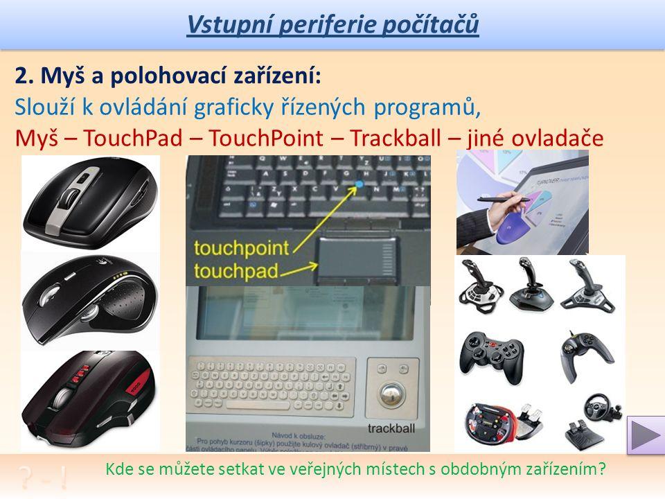Vstupní periferie počítačů Kde se můžete setkat ve veřejných místech s obdobným zařízením.