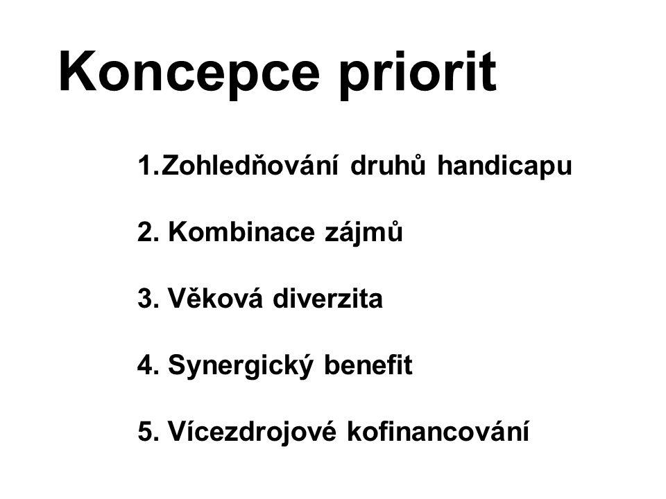 Koncepce priorit 1.Zohledňování druhů handicapu 2. Kombinace zájmů 3. Věková diverzita 4. Synergický benefit 5. Vícezdrojové kofinancování