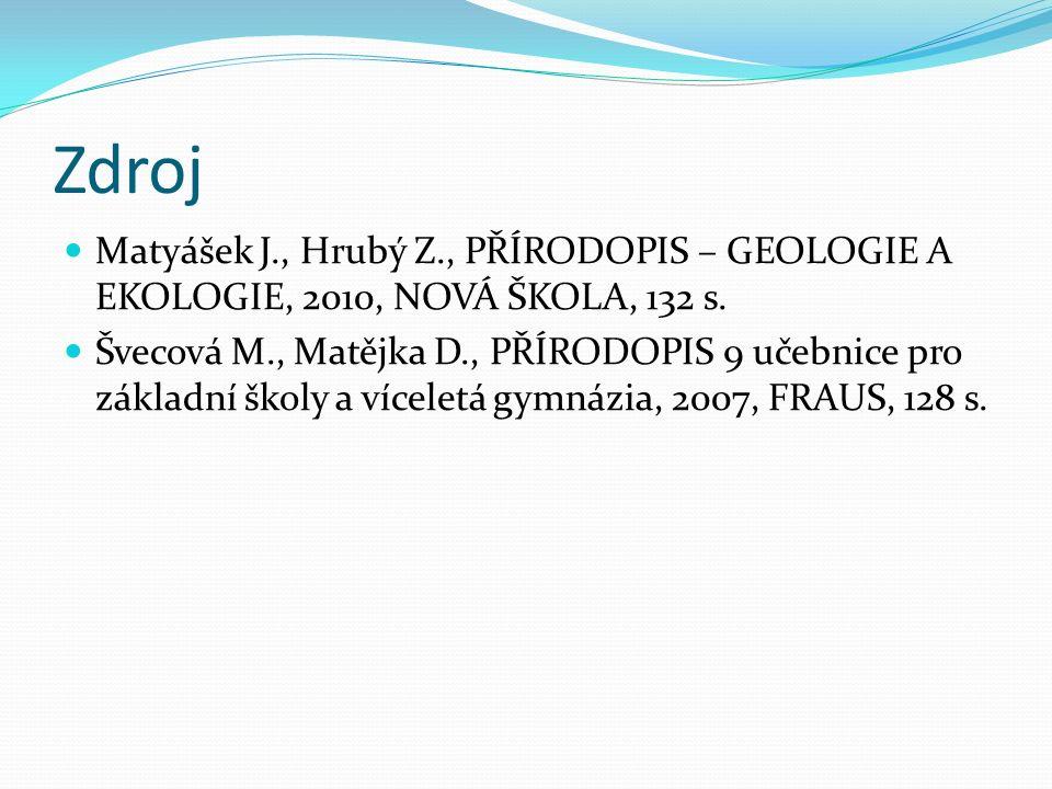 Zdroj Matyášek J., Hrubý Z., PŘÍRODOPIS – GEOLOGIE A EKOLOGIE, 2010, NOVÁ ŠKOLA, 132 s.