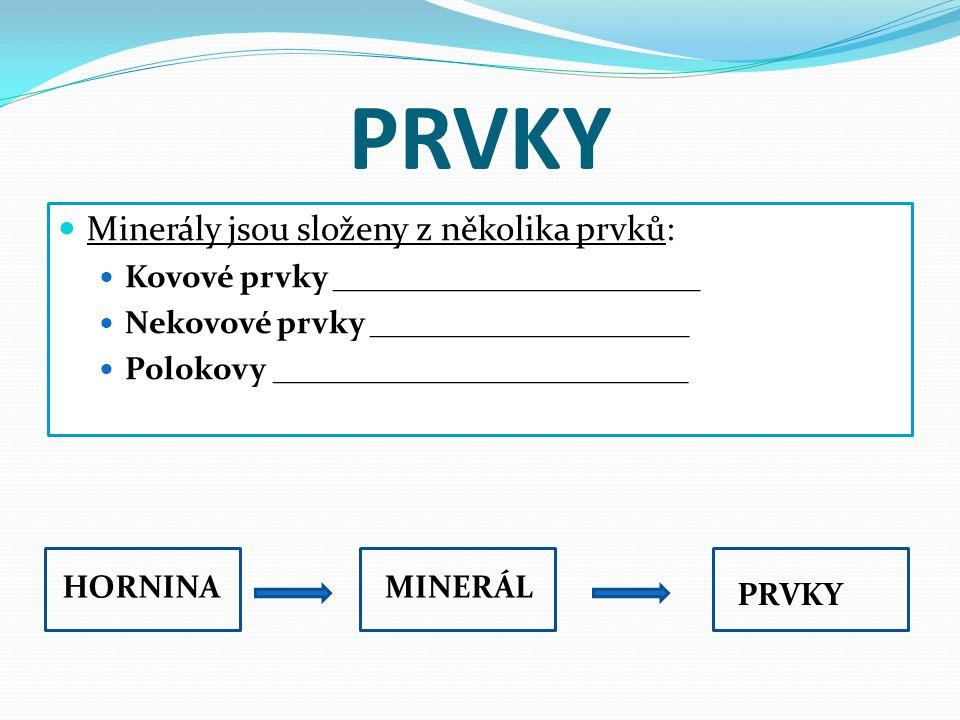 PRVKY Minerály jsou složeny z několika prvků: Kovové prvky _______________________ Nekovové prvky ____________________ Polokovy __________________________ HORNINAMINERÁL PRVKY