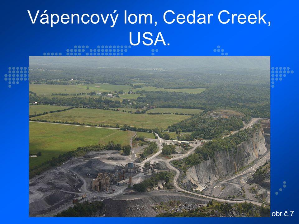 Vápencový lom, Cedar Creek, USA. obr.č.7