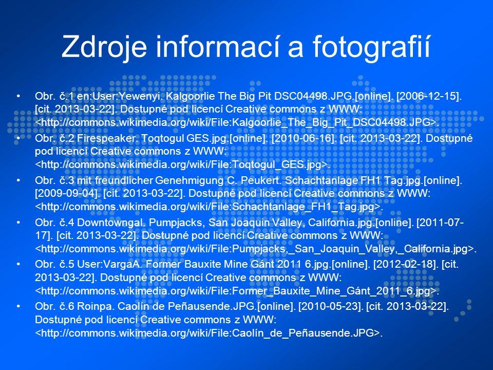 Zdroje informací a fotografií Obr. č.1 en:User:Yewenyi.