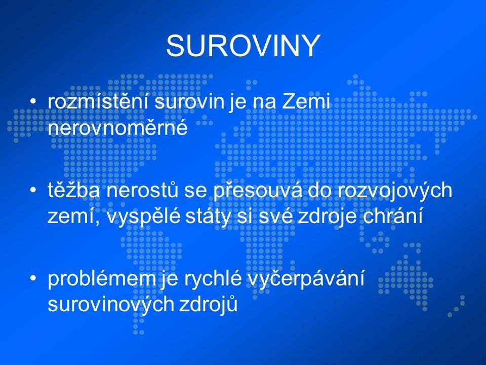 DĚLENÍ SUROVIN 1.OBNOVITELNÉ voda, lesy, potraviny, živé organismy 2.NEOBNOVITELNÉ paliva (energetické suroviny), rudy, nerudné suroviny obr.č.2 Hydroelektrárna, Kyrgyzstán.