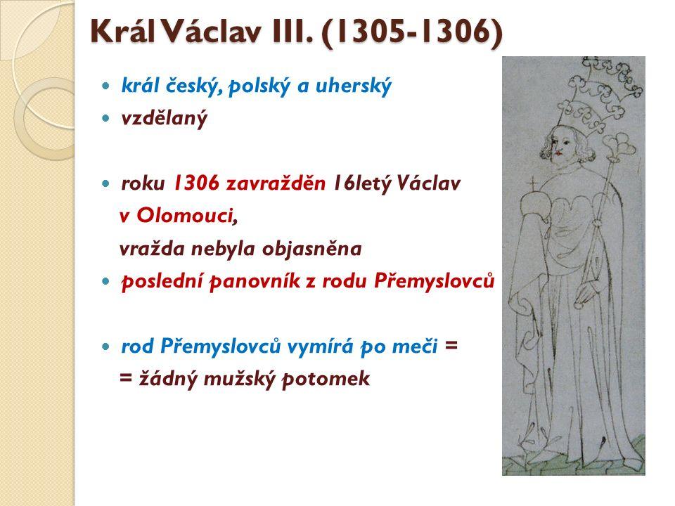 Král Václav III. (1305-1306) král český, polský a uherský vzdělaný roku 1306 zavražděn 16letý Václav v Olomouci, vražda nebyla objasněna poslední pano