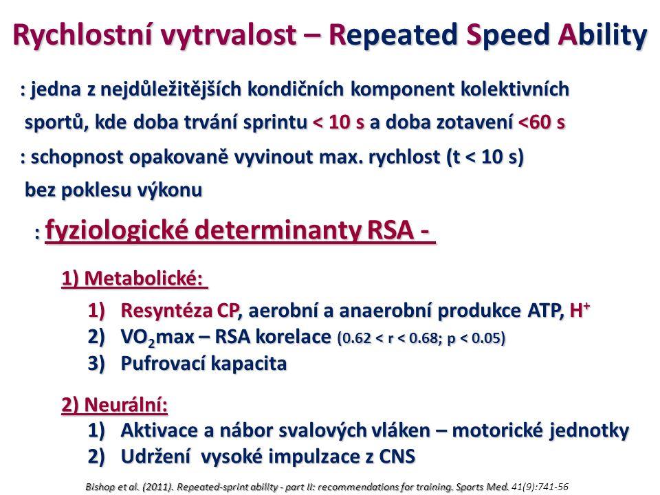 Rychlostní vytrvalost – Repeated Speed Ability : jedna z nejdůležitějších kondičních komponent kolektivních sportů, kde doba trvání sprintu < 10 s a doba zotavení <60 s sportů, kde doba trvání sprintu < 10 s a doba zotavení <60 s : schopnost opakovaně vyvinout max.