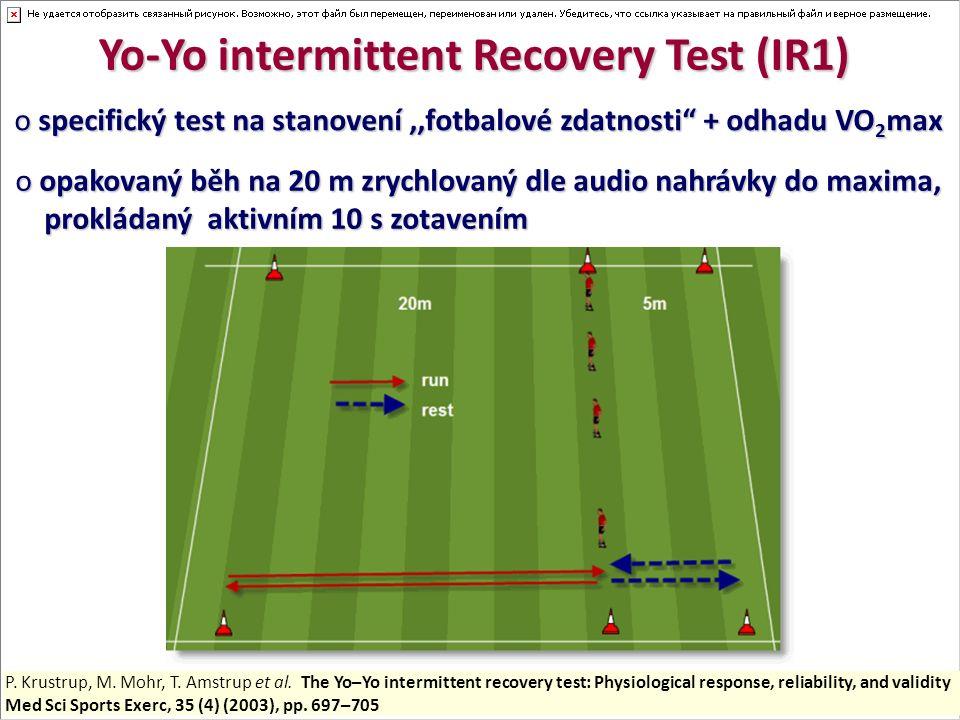 Yo-Yo intermittent Recovery Test (IR1) o specifický test na stanovení,,fotbalové zdatnosti + odhadu VO 2 max o opakovaný běh na 20 m zrychlovaný dle audio nahrávky do maxima, prokládaný aktivním 10 s zotavením prokládaný aktivním 10 s zotavením P.