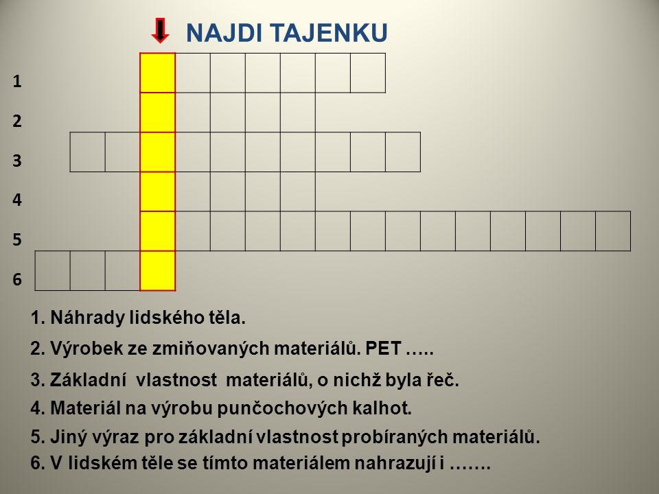 1. Náhrady lidského těla. 1 2 3 4 5 6 2. Výrobek ze zmiňovaných materiálů. PET ….. 3. Základní vlastnost materiálů, o nichž byla řeč. 4. Materiál na v