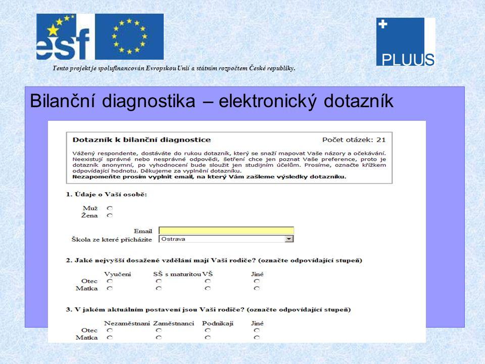 Bilanční diagnostika – elektronický dotazník Tento projekt je spolufinancován Evropskou Unií a státním rozpočtem České republiky.