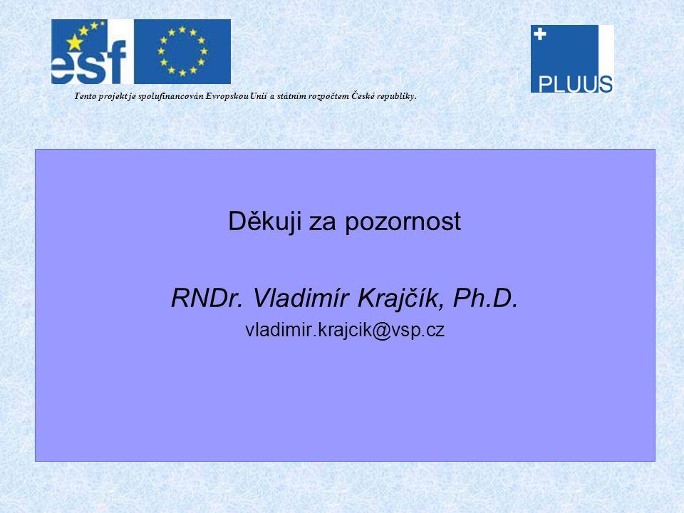 Děkuji za pozornost RNDr. Vladimír Krajčík, Ph.D.