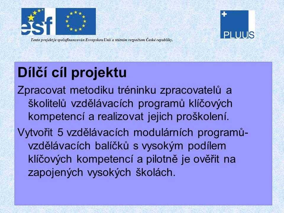 Projektové výstupy Tento projekt je spolufinancován Evropskou Unií a státním rozpočtem České republiky.