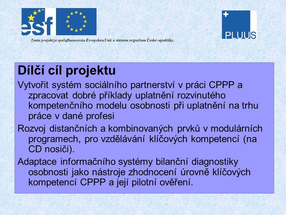 Projektové výstupy metodika pro analýzu klíčových kompetencí metodika pro zaškolení pracovníku CPPP studie potřeb hlavních zaměstnavatelů v kraji ve vazbě na požadované přenositelné klíčové kompetence studie - organizační a personální zajištění CPPP metodika efektivního učení a její užití v systému CPPP metodika projektování tréninku v systému CPPP návrh systému hodnocení efektivity modulu celoživotního vzdělávání metodika pro návrh a přípravu vzdělávacích balíčků s vysokým stupněm klíčových kompetencí metodika pro adaptaci IS bilanční diagnostiky v systému CPPP analýza a návrh IS CPPP specifikace požadavku pro IS CPPP metodika pro tvorbu dobrých příkladu CPPP Tento projekt je spolufinancován Evropskou Unií a státním rozpočtem České republiky.