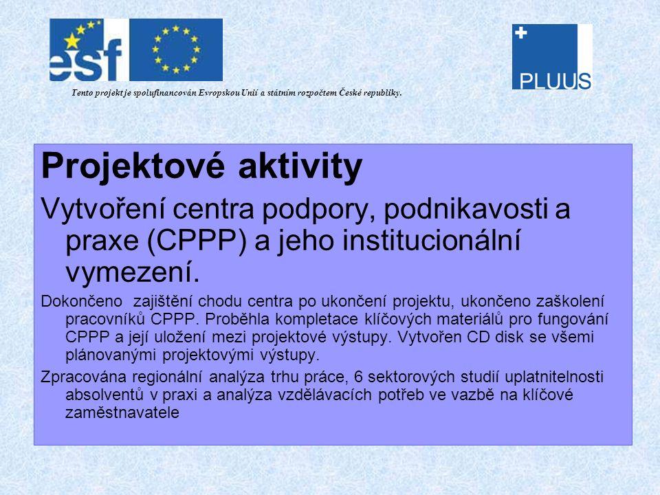 Projektové aktivity Vytvoření centra podpory, podnikavosti a praxe (CPPP) a jeho institucionální vymezení.