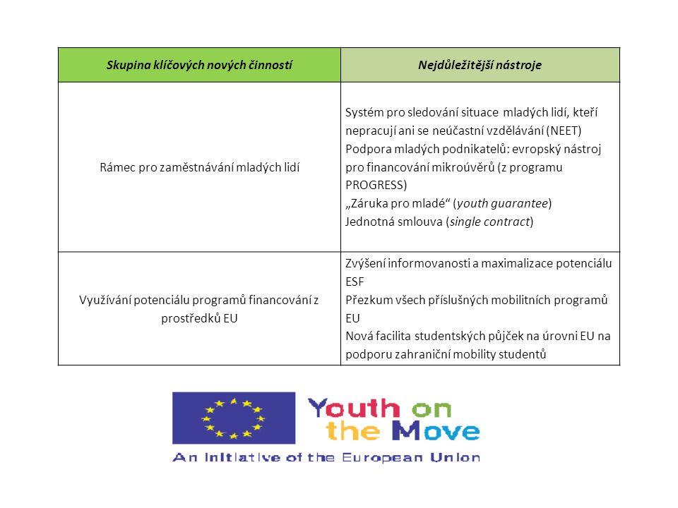 Skupina klíčových nových činnostíNejdůležitější nástroje Rámec pro zaměstnávání mladých lidí Systém pro sledování situace mladých lidí, kteří nepracuj